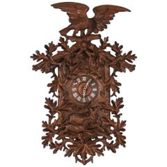Antique 19th Century Carved Black Forest Cuckoo Wall Clock