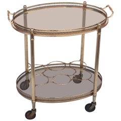 French Oval Drinks Cart of Brass and Smoked Glass with Serving Tray Top
