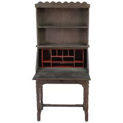 1930s Red and Old Wood Finish Monterey Hutch with Fold Down Desk