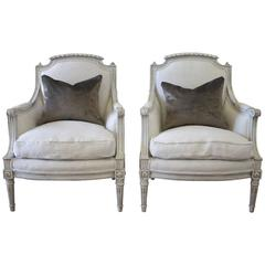 Pair of Louis XVI Style Painted and Upholstered Bergere Chairs