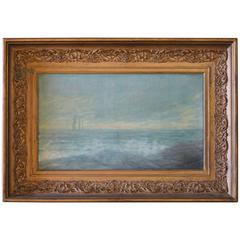 Early 20th Century Antique Ocean Oil Painting on Canvas in Giltwood Frame
