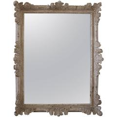Large Louis XV Style Hand-Carved Wood and White Washed Mirror