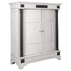 Antique 19th Century Danish White Painted Biedermeier Armoire