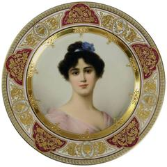 "Royal Vienna Hand-Painted Portrait Plate ""Sommer"" Signed Wagner, circa 1910"