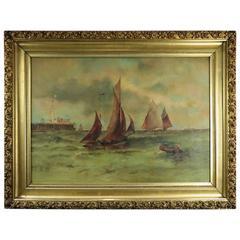 Antique Oil on Canvas Painting of Maritime Seascape, Venetian Harbor, circa 1890