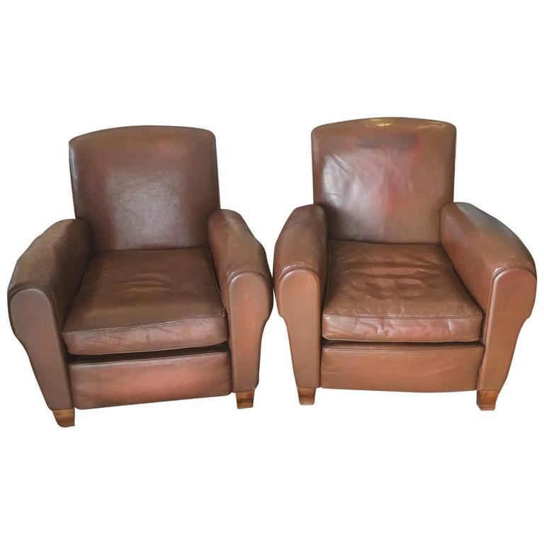 Pair of Art Deco French Leather Armchairs Club Chairs 1