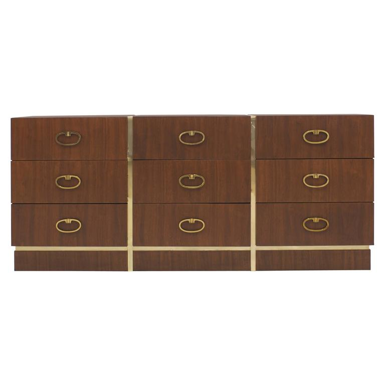 Walnut Dresser by Founders with Brass Accents and Hardware For Sale