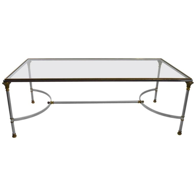Steel Brass and Glass Coffee Table in the Style of Maison Jansen For Sale