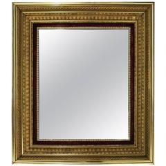 Antique 1st Finish Gold Gilt and Velvet Deep Frame Wall Mirror, 1890