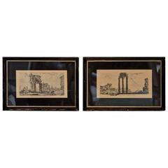 Grand Tour Prints of Roman Temples by Piranesi