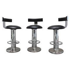 Designs for Leisure Chrome and Leather Bar Stools