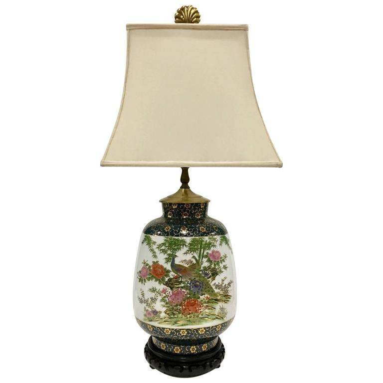 Vintage frederick cooper hand painted porcelain and gilt peacock table lamp