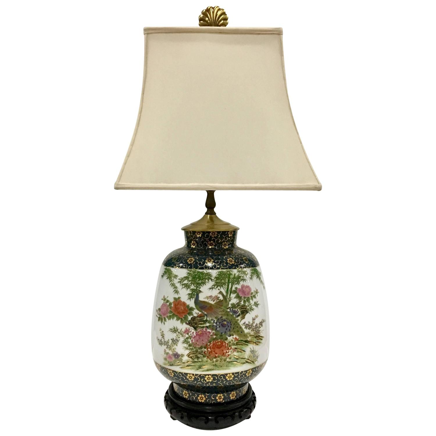Vintage frederick cooper hand painted porcelain and gilt peacock table lamp at 1stdibs