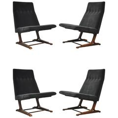 Rare Dunbar Cantilever Lounge Chairs by Roger Sprunger, Model 480