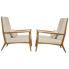 Paul McCobb for Directional Walnut Frame Lounge Chairs