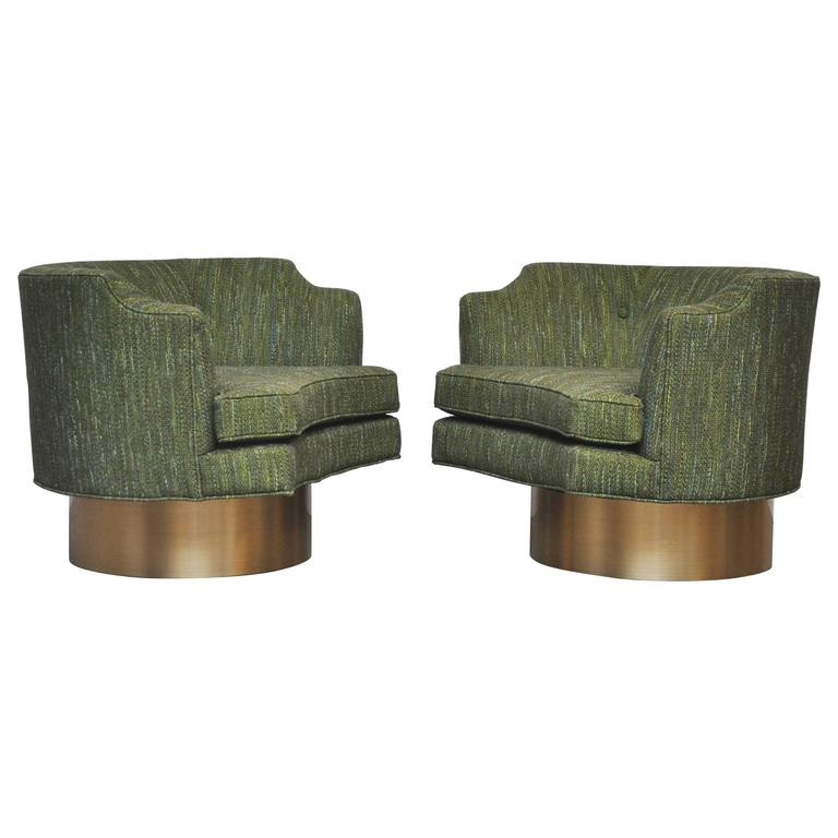 Harvey Probber Swivel Chairs on Brushed Brass Bases 1