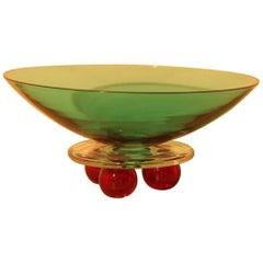 Barbini Vase Murano Art Glass 1980s, Special and Decorative Design Green Red