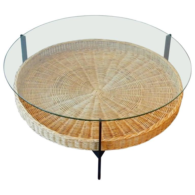 midcentury coffee table with glass top on metal frame at