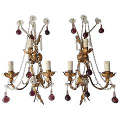 1920 French Bronze Murano Drops Crystal Prisms Amethyst Sconces