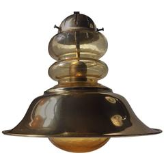 Nautical Mid-Century Brass and Glass Ceiling Light by Vitrika, Denmark, 1960s