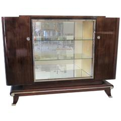 Art Deco Display Cabinet in Mahogany, Glass and Mirror