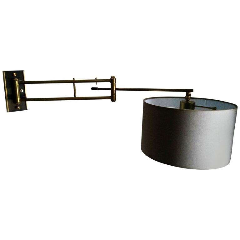 French Mid-Century Modern Bronze Wall Lamp Large Sconce, 1950s