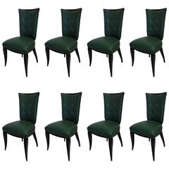 Eight Art Deco Chairs in Their Original Condition with Tight Frame in Beech
