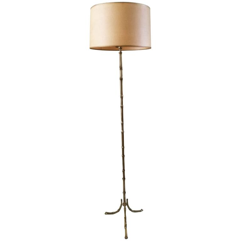 French Floor Lamp in Gilt Bronze by Maison Bagues