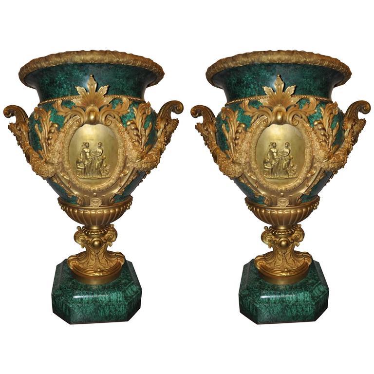 Pair of Impressive Large Neoclassical Style Ormolu Mounted Malachite Urns