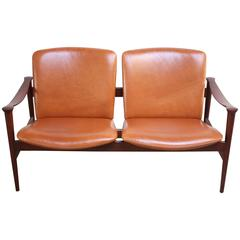 Fredrik Kayser Loveseat in Leather and Teak