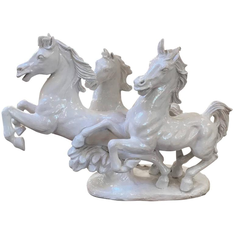 Large Italian Blanc de Chine Sculpture of Running Stallions