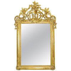 Elaborately Carved French Large-Scale Giltwood Mirror