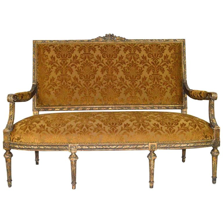 19th Century French Louis XVI Style Carved Painted Gilt Settee