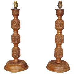 Early 20th Century Pair of Indian Carved Walnut Table Lamps