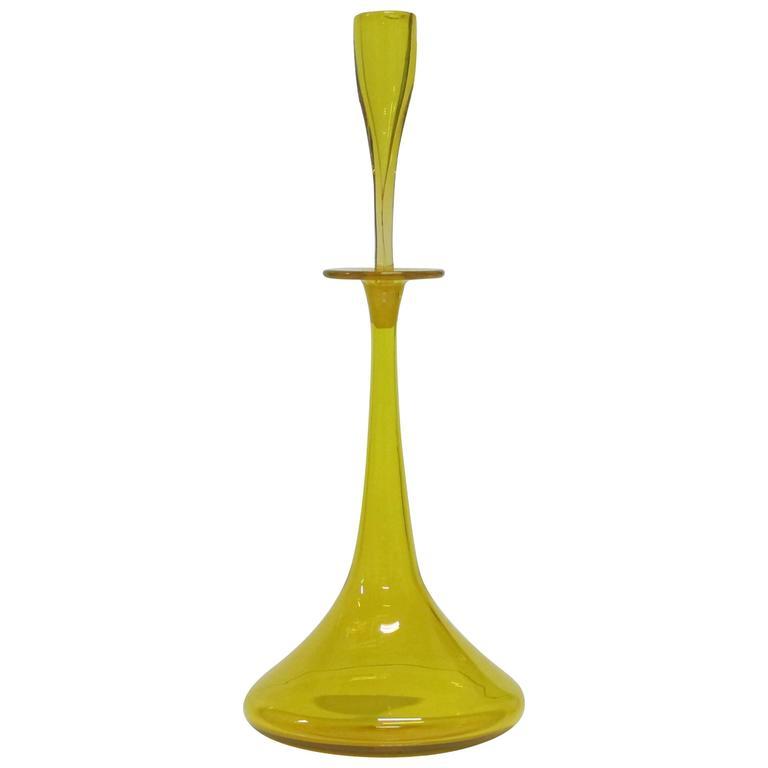 Wayne Husted Blenko Glass Decanter Yellow USA, 1960s