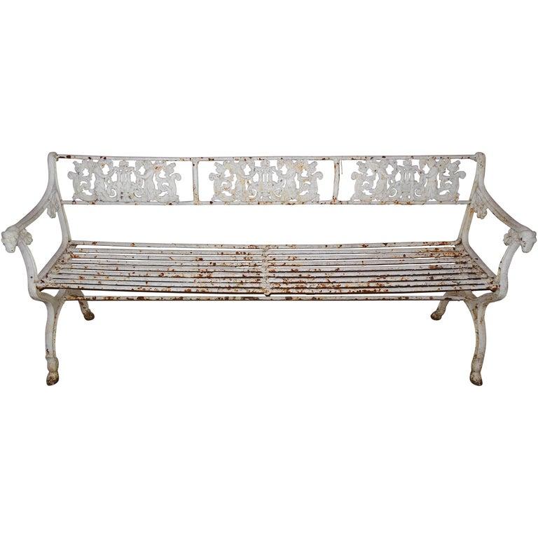 Neoclassical Schinkel Cast Iron Garden Bench 19th Century