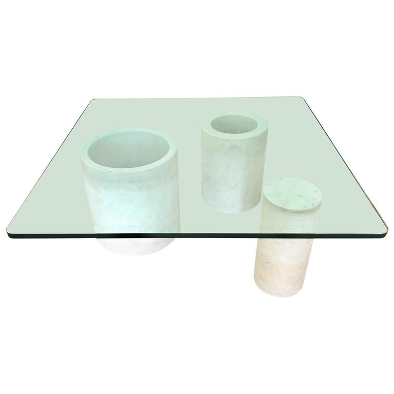 Italian Modernist Carrara Mable and Beveled Glass Cocktail or Coffee Table