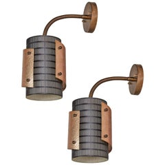 Pair of Copper and Black Perforated Metal Danish Sconces