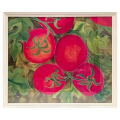 """90'S Original Mixed Media Painting """"Tomatoes"""" By, Elizabeth E. Mitchell-Signed"""