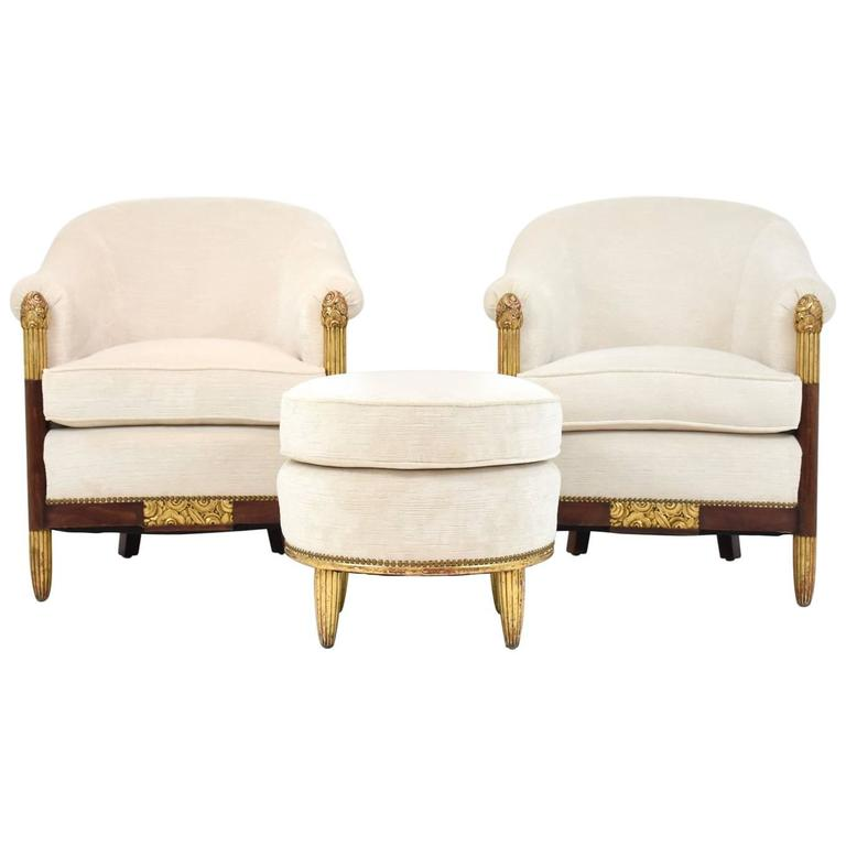 Pair of French Art Deco Barrel Back Chairs and Ottoman Attributed to Paul Follot