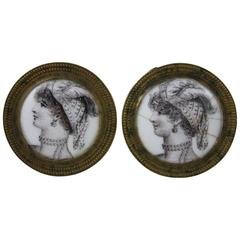 18th Century English Battersea Enamel Tiebacks, Mirror, Picture Supports, a Pair