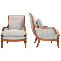Pair of Biedermeier Style Dolphin Bergére Chairs