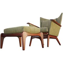 Adrian Pearsall for Craft Associates Walnut Lounge Chair and Ottoman