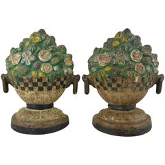 1930s American Painted Cast Iron Doorstops, Floral Jardinieres, Pair