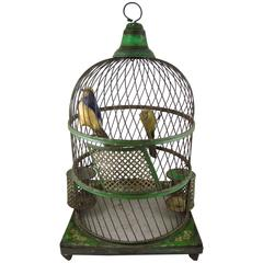 French Belle Époque Tole Peinte Bird Cage and Two Feathered Birds