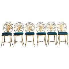 Set of Six Hollywood Regency-Style Italian Gilded Chairs by S. Salvadori