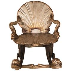 Grotto Rocking Chair Open Scallop of Lacquered Silver Leaf, Venetian, circa 1900