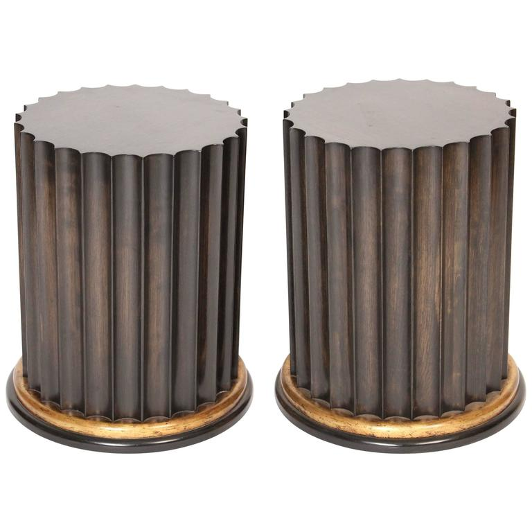 Pair of Neoclassical Style Column Form Occasional Tables