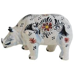 French Faience Rhinoceros, circa 1910