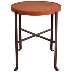 Custom Bennington Pottery Terra Cotta & Wrought Iron Outdoor Table by David Gil